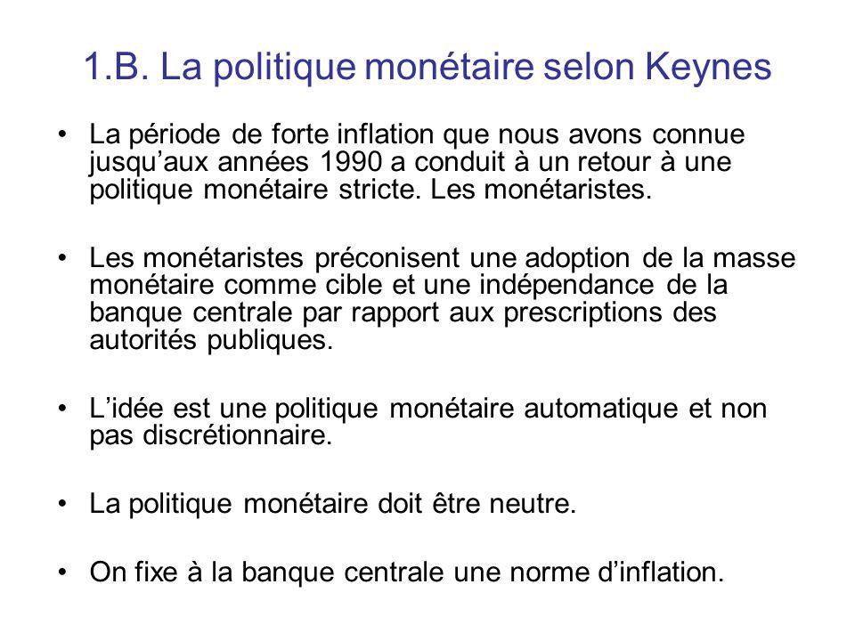 1.B. La politique monétaire selon Keynes La période de forte inflation que nous avons connue jusqu'aux années 1990 a conduit à un retour à une politiq