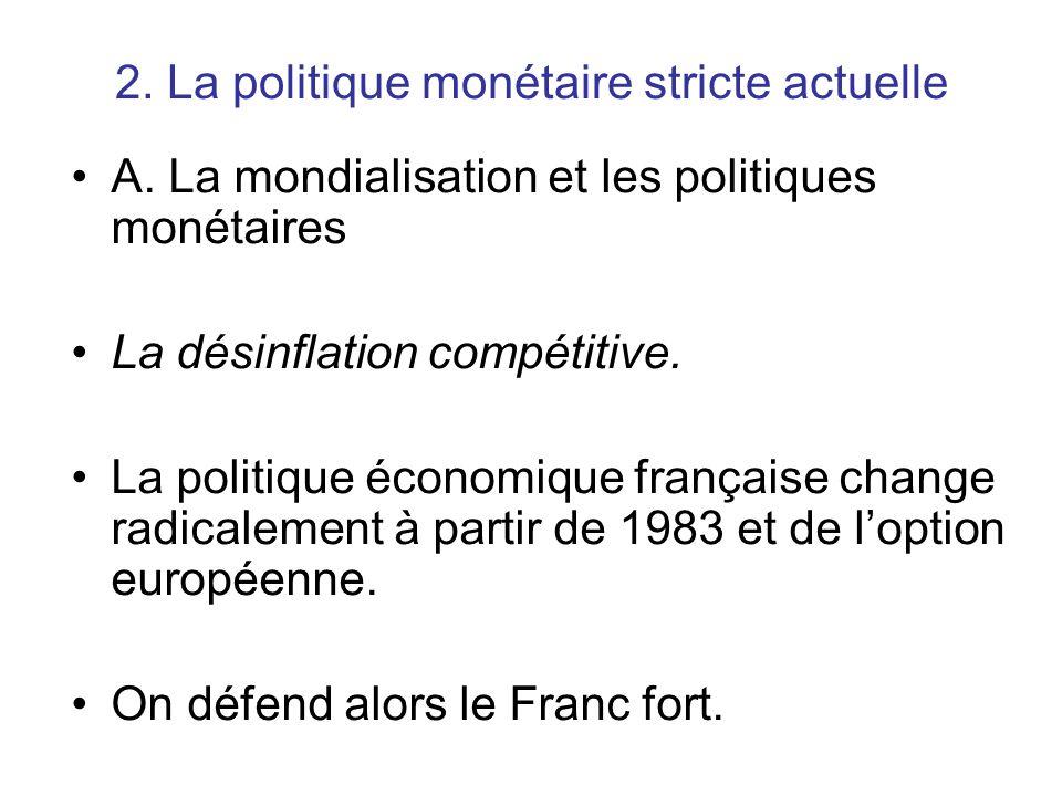 2. La politique monétaire stricte actuelle A. La mondialisation et les politiques monétaires La désinflation compétitive. La politique économique fran