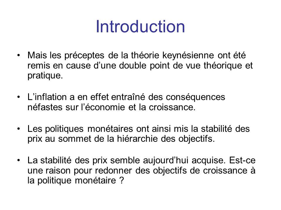 Introduction Mais les préceptes de la théorie keynésienne ont été remis en cause d'une double point de vue théorique et pratique. L'inflation a en eff