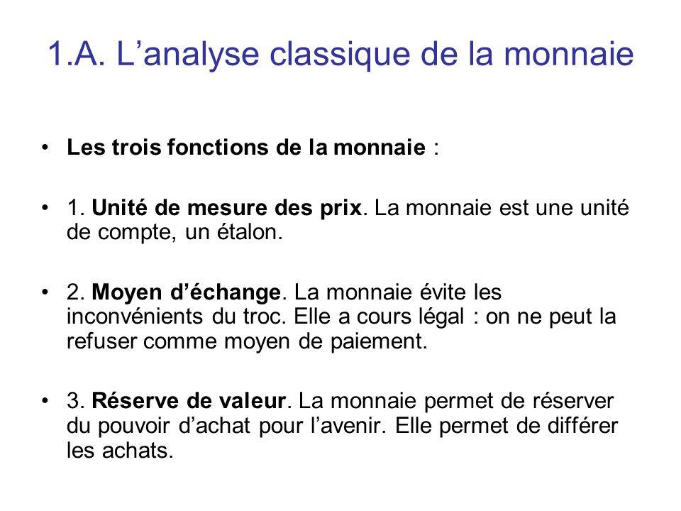 1.A. L'analyse classique de la monnaie Les trois fonctions de la monnaie : 1. Unité de mesure des prix. La monnaie est une unité de compte, un étalon.