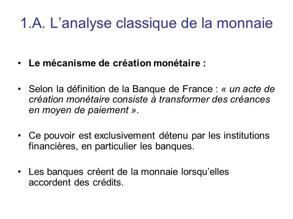 1.A. L'analyse classique de la monnaie Le mécanisme de création monétaire : Selon la définition de la Banque de France : « un acte de création monétai