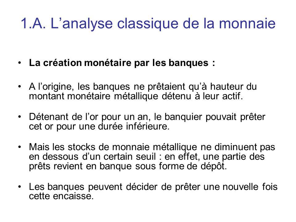1.A. L'analyse classique de la monnaie La création monétaire par les banques : A l'origine, les banques ne prêtaient qu'à hauteur du montant monétaire