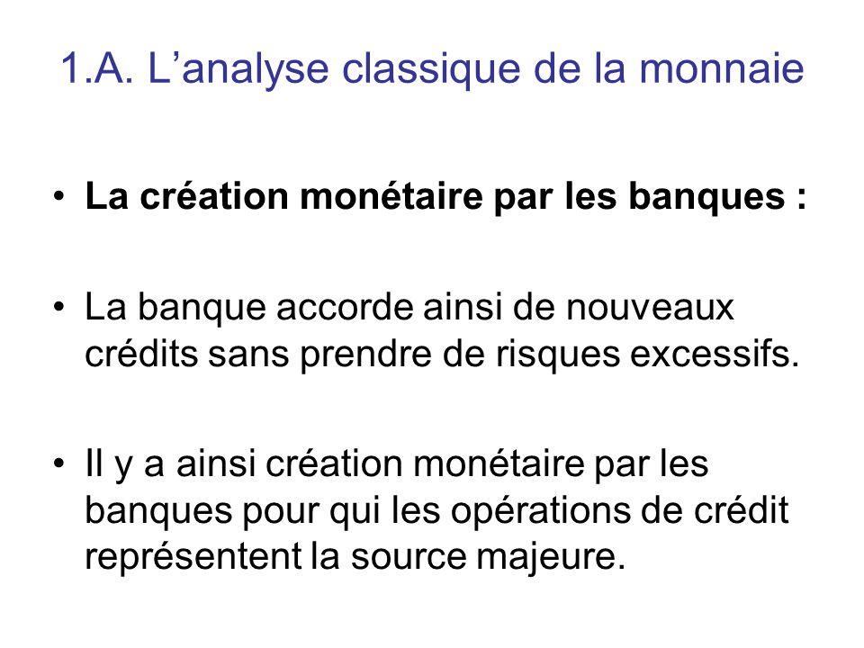 1.A. L'analyse classique de la monnaie La création monétaire par les banques : La banque accorde ainsi de nouveaux crédits sans prendre de risques exc