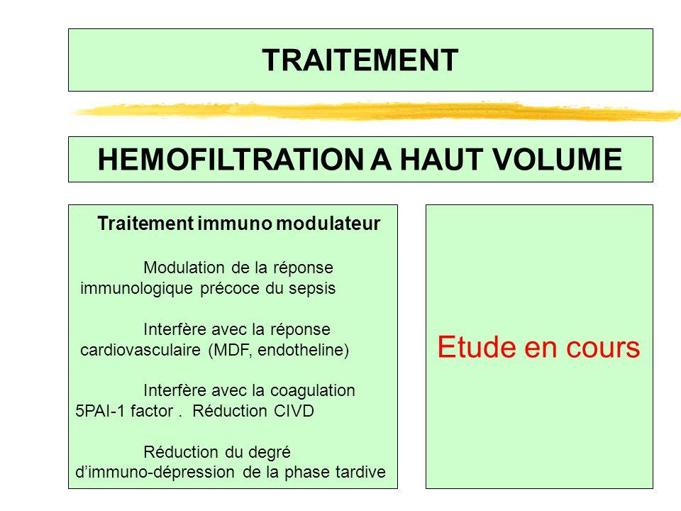 TRAITEMENT HEMOFILTRATION A HAUT VOLUME Traitement immuno modulateur Modulation de la réponse immunologique précoce du sepsis Interfère avec la répons