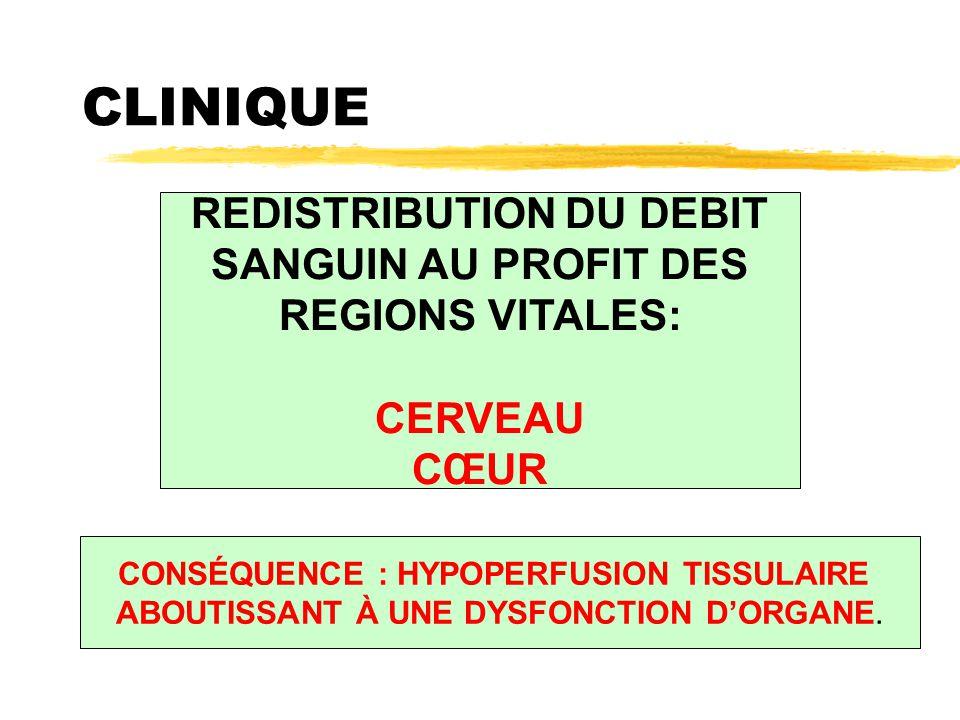 CLINIQUE REDISTRIBUTION DU DEBIT SANGUIN AU PROFIT DES REGIONS VITALES: CERVEAU CŒUR CONSÉQUENCE : HYPOPERFUSION TISSULAIRE ABOUTISSANT À UNE DYSFONCT