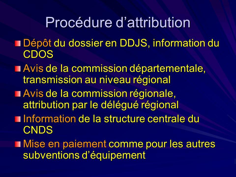 Procédure d'attribution Dépôt du dossier en DDJS, information du CDOS Avis de la commission départementale, transmission au niveau régional Avis de la commission régionale, attribution par le délégué régional Information de la structure centrale du CNDS Mise en paiement comme pour les autres subventions d'équipement