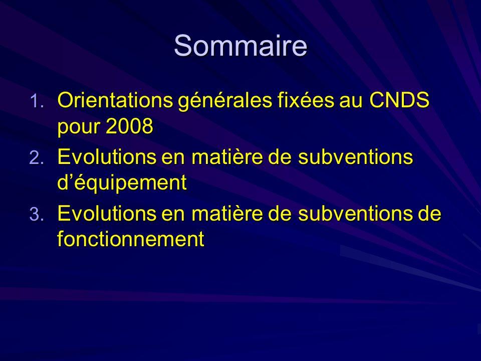 Sommaire 1. Orientations générales fixées au CNDS pour 2008 2.