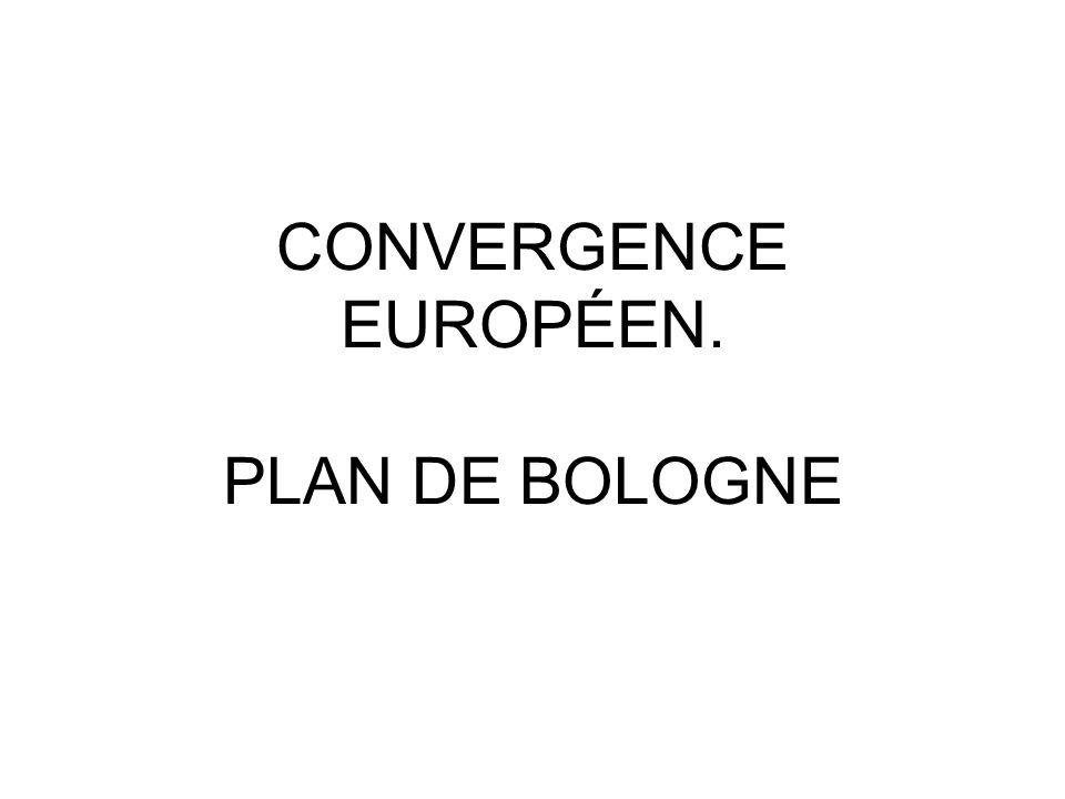 CONVERGENCE EUROPÉEN. PLAN DE BOLOGNE
