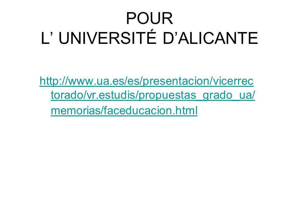 POUR L' UNIVERSITÉ D'ALICANTE http://www.ua.es/es/presentacion/vicerrec torado/vr.estudis/propuestas_grado_ua/ memorias/faceducacion.html