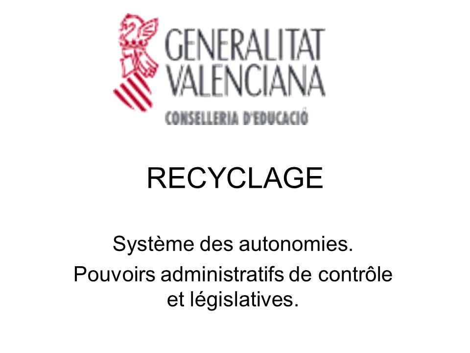 RECYCLAGE Système des autonomies. Pouvoirs administratifs de contrôle et législatives.