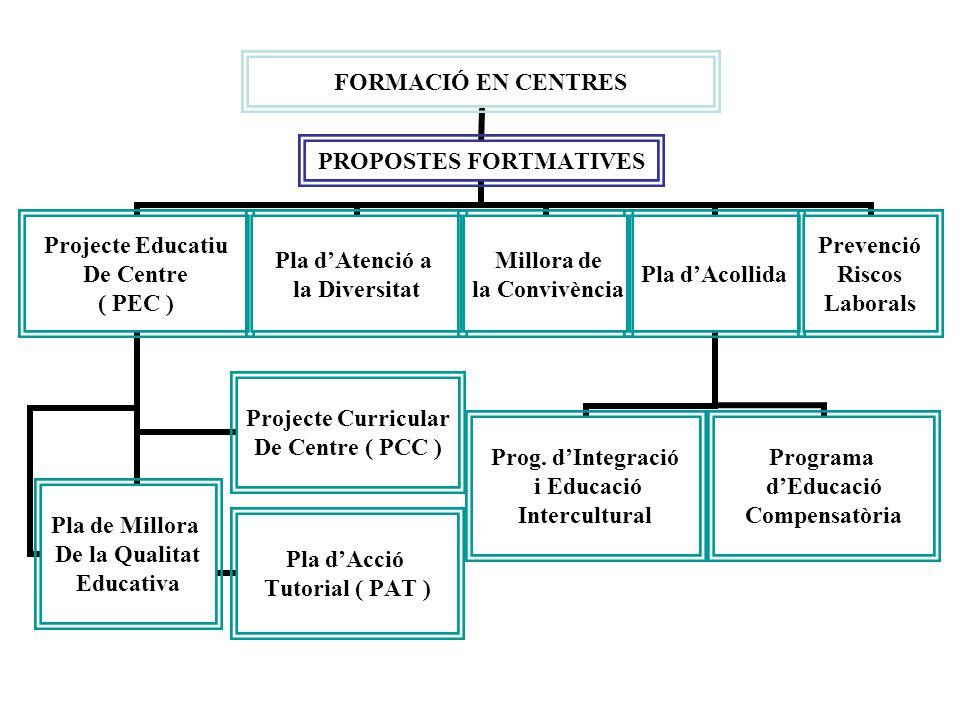 FORMACIÓ EN CENTRES PROPOSTES FORTMATIVES Projecte Educatiu De Centre ( PEC ) Projecte Curricular De Centre ( PCC ) Pla d'Acció Tutorial ( PAT ) Pla de Millora De la Qualitat Educativa Pla d'Atenció a la Diversitat Millora de la Convivència Pla d'Acollida Prog.