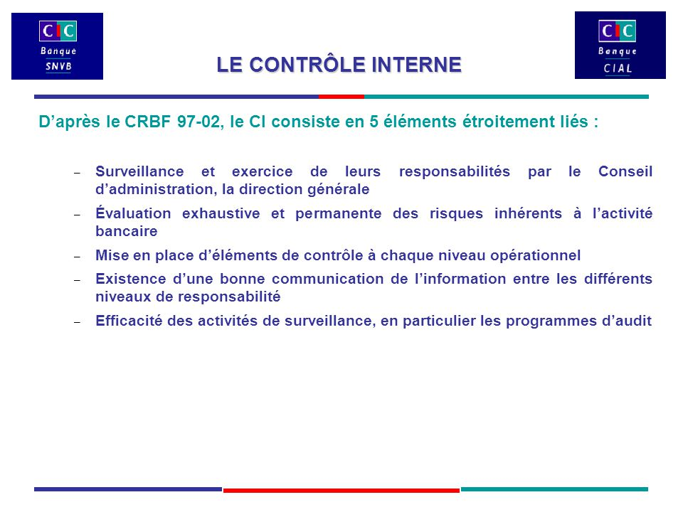 LE CONTRÔLE INTERNE D'après le CRBF 97-02, le CI consiste en 5 éléments étroitement liés : – Surveillance et exercice de leurs responsabilités par le Conseil d'administration, la direction générale – Évaluation exhaustive et permanente des risques inhérents à l'activité bancaire – Mise en place d'éléments de contrôle à chaque niveau opérationnel – Existence d'une bonne communication de l'information entre les différents niveaux de responsabilité – Efficacité des activités de surveillance, en particulier les programmes d'audit