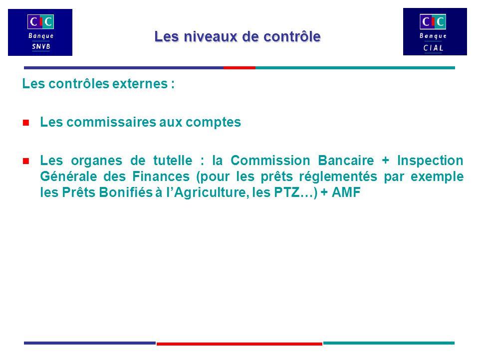 Les contrôles externes : Les commissaires aux comptes Les organes de tutelle : la Commission Bancaire + Inspection Générale des Finances (pour les prêts réglementés par exemple les Prêts Bonifiés à l'Agriculture, les PTZ…) + AMF Les niveaux de contrôle