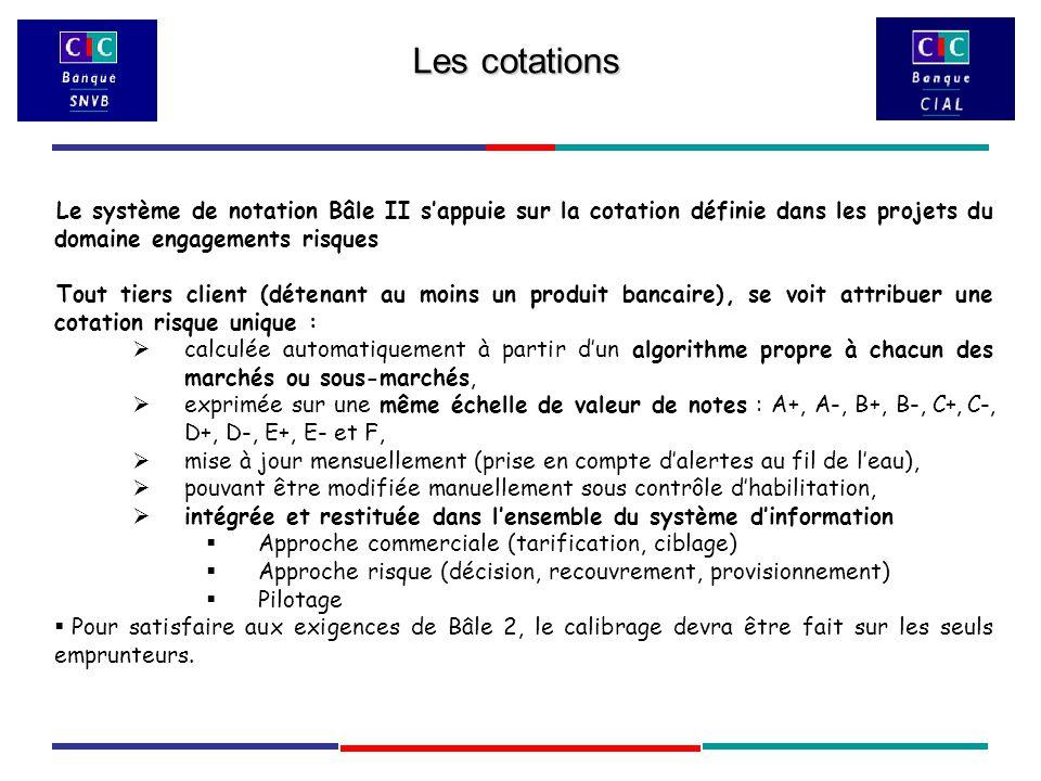 Le système de notation Bâle II s'appuie sur la cotation définie dans les projets du domaine engagements risques Tout tiers client (détenant au moins un produit bancaire), se voit attribuer une cotation risque unique :  calculée automatiquement à partir d'un algorithme propre à chacun des marchés ou sous-marchés,  exprimée sur une même échelle de valeur de notes : A+, A-, B+, B-, C+, C-, D+, D-, E+, E- et F,  mise à jour mensuellement (prise en compte d'alertes au fil de l'eau),  pouvant être modifiée manuellement sous contrôle d'habilitation,  intégrée et restituée dans l'ensemble du système d'information  Approche commerciale (tarification, ciblage)  Approche risque (décision, recouvrement, provisionnement)  Pilotage  Pour satisfaire aux exigences de Bâle 2, le calibrage devra être fait sur les seuls emprunteurs.
