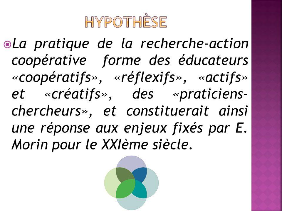  La pratique de la recherche-action coopérative forme des éducateurs «coopératifs», «réflexifs», «actifs» et «créatifs», des «praticiens- chercheurs», et constituerait ainsi une réponse aux enjeux fixés par E.