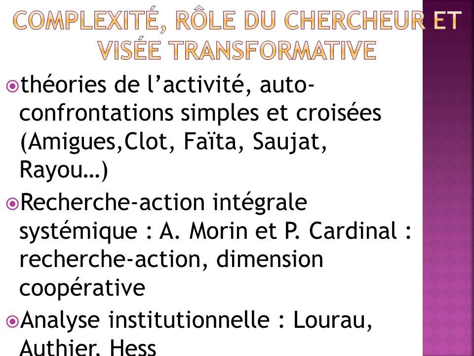  théories de l'activité, auto- confrontations simples et croisées (Amigues,Clot, Faïta, Saujat, Rayou…)  Recherche-action intégrale systémique : A.