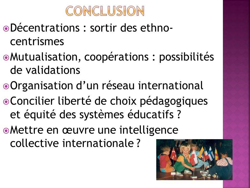  Décentrations : sortir des ethno- centrismes  Mutualisation, coopérations : possibilités de validations  Organisation d'un réseau international  Concilier liberté de choix pédagogiques et équité des systèmes éducatifs .