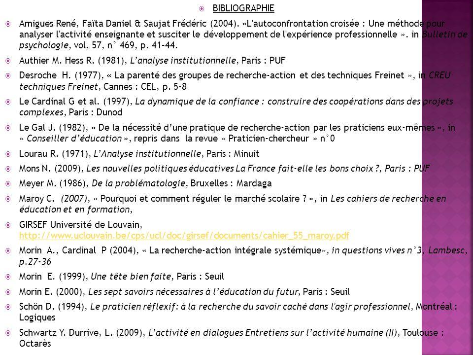  BIBLIOGRAPHIE  Amigues René, Faïta Daniel & Saujat Frédéric (2004).