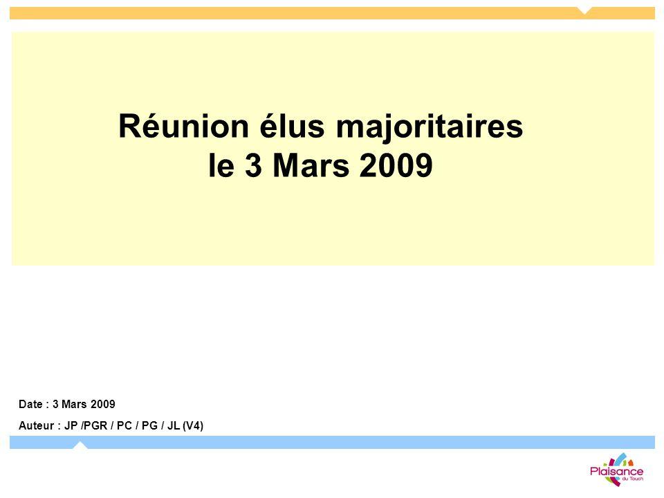 Date : 3 Mars 2009 Auteur : JP /PGR / PC / PG / JL (V4) Réunion élus majoritaires le 3 Mars 2009