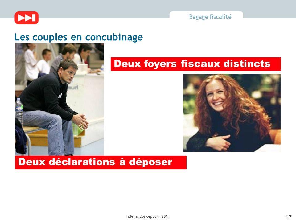 Bagage fiscalité Fidélia Conception 2011 17 Les couples en concubinage Deux foyers fiscaux distincts Deux déclarations à déposer