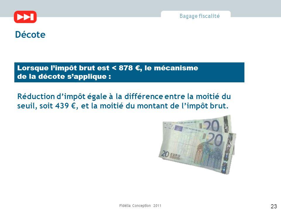 Bagage fiscalité Fidélia Conception 2011 23 Décote Lorsque l'impôt brut est < 878 €, le mécanisme de la décote s'applique : Réduction d'impôt égale à la différence entre la moitié du seuil, soit 439 €, et la moitié du montant de l'impôt brut.