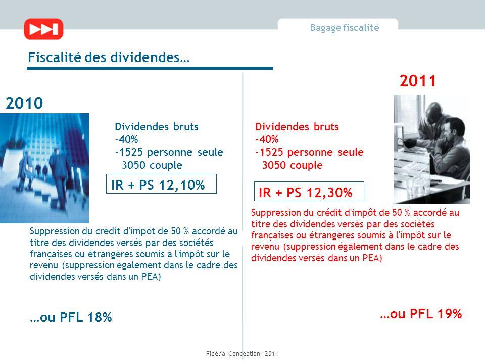 Bagage fiscalité Fidélia Conception 2011 Fiscalité des dividendes… IR + PS 12,10% 2010 2011 Suppression du crédit d impôt de 50 % accordé au titre des dividendes versés par des sociétés françaises ou étrangères soumis à l impôt sur le revenu (suppression également dans le cadre des dividendes versés dans un PEA) …ou PFL 18% Dividendes bruts -40% -1525 personne seule 3050 couple Dividendes bruts -40% -1525 personne seule 3050 couple IR + PS 12,30% …ou PFL 19% Suppression du crédit d impôt de 50 % accordé au titre des dividendes versés par des sociétés françaises ou étrangères soumis à l impôt sur le revenu (suppression également dans le cadre des dividendes versés dans un PEA)