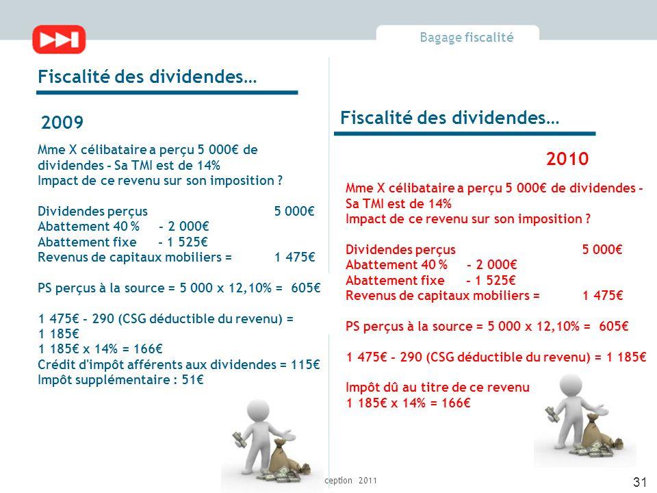 Bagage fiscalité Fidélia Conception 2011 Mme X célibataire a perçu 5 000€ de dividendes - Sa TMI est de 14% Impact de ce revenu sur son imposition .
