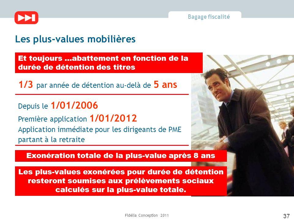 Bagage fiscalité Fidélia Conception 2011 37 1/3 par année de détention au-delà de 5 ans Les plus-values exonérées pour durée de détention resteront soumises aux prélèvements sociaux calculés sur la plus-value totale.