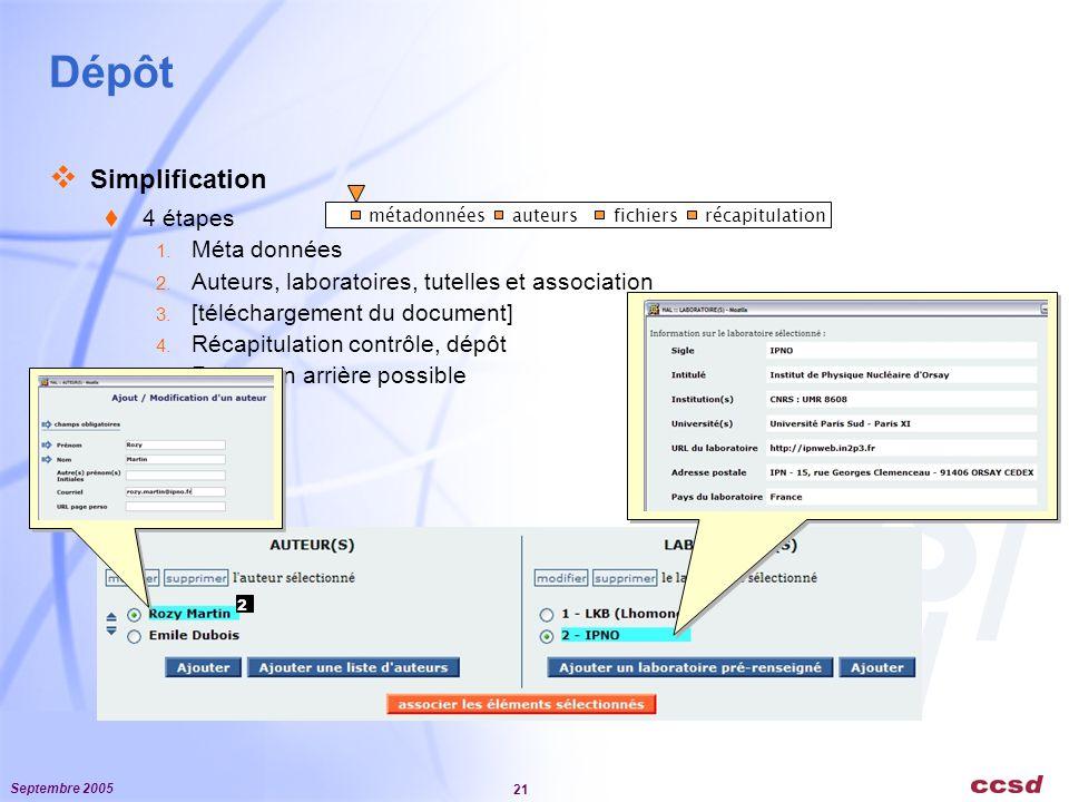 Septembre 2005 21 Dépôt  Simplification  4 étapes 1.