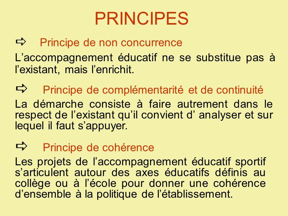 PRINCIPES  Principe de non concurrence L'accompagnement éducatif ne se substitue pas à l'existant, mais l'enrichit.
