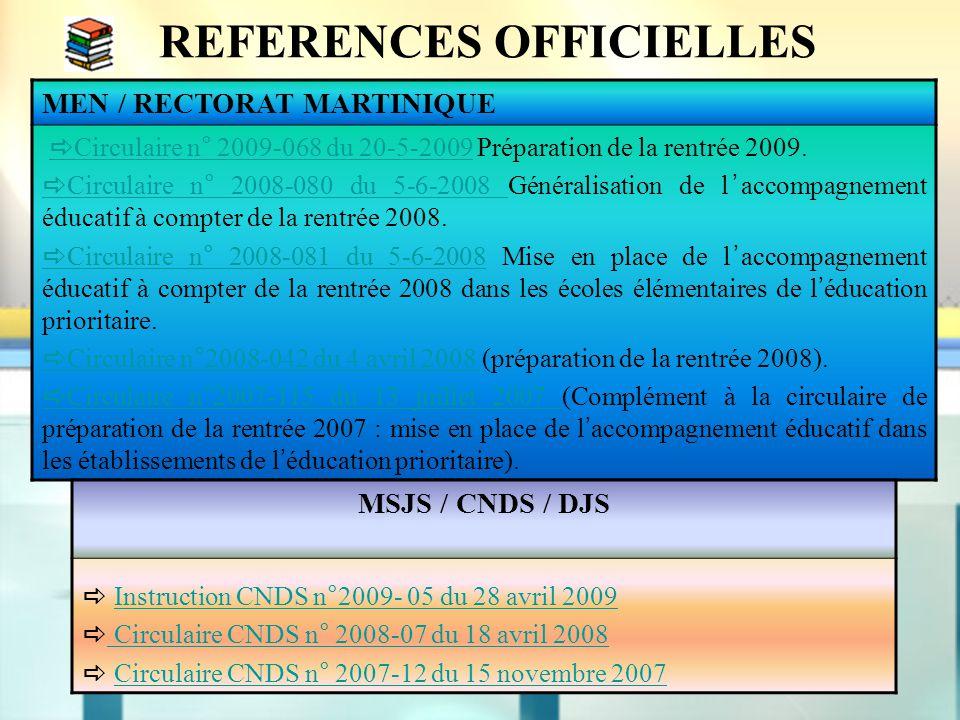 REFERENCES OFFICIELLES MEN / RECTORAT MARTINIQUE  Circulaire n° 2009-068 du 20-5-2009 Préparation de la rentrée 2009.