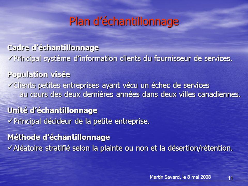 11 Plan d'échantillonnage Cadre d'échantillonnage Principal système d'information clients du fournisseur de services.