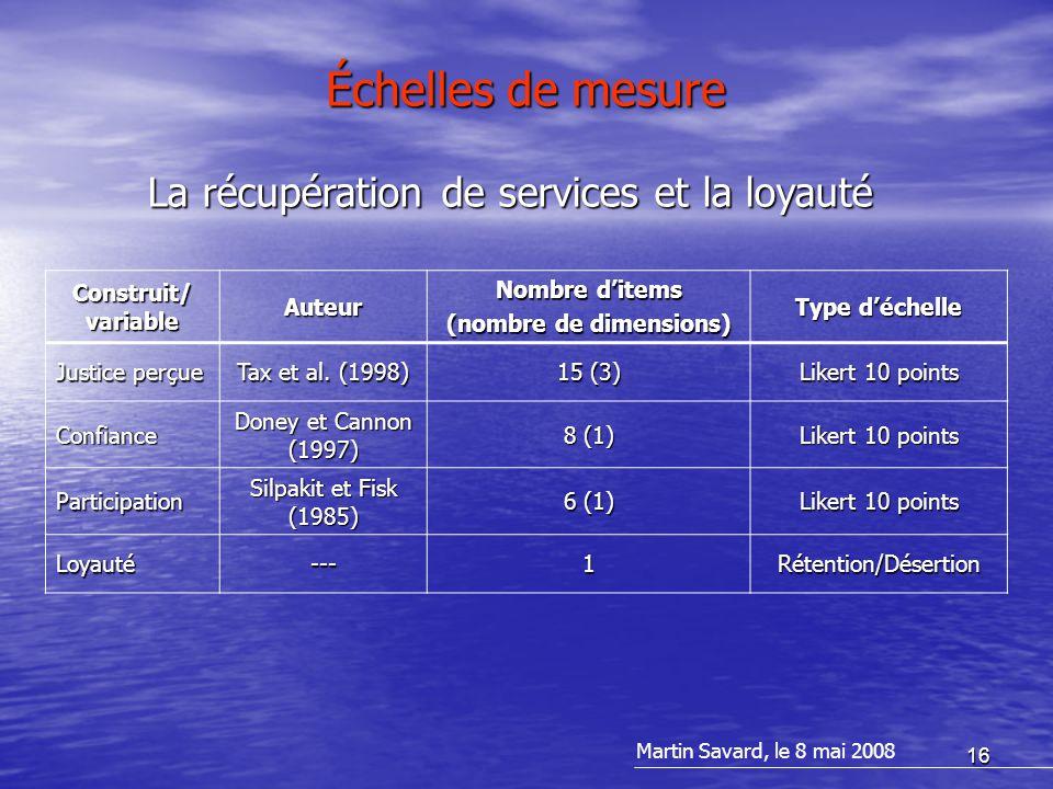 16 Échelles de mesure Construit/ variable Auteur Nombre d'items (nombre de dimensions) Type d'échelle Justice perçue Tax et al.