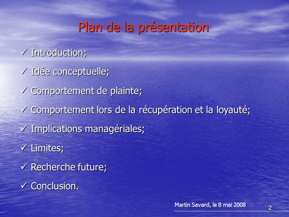 2 Plan de la présentation Martin Savard, le 8 mai 2008 Introduction; Introduction; Idée conceptuelle; Idée conceptuelle; Comportement de plainte; Comp
