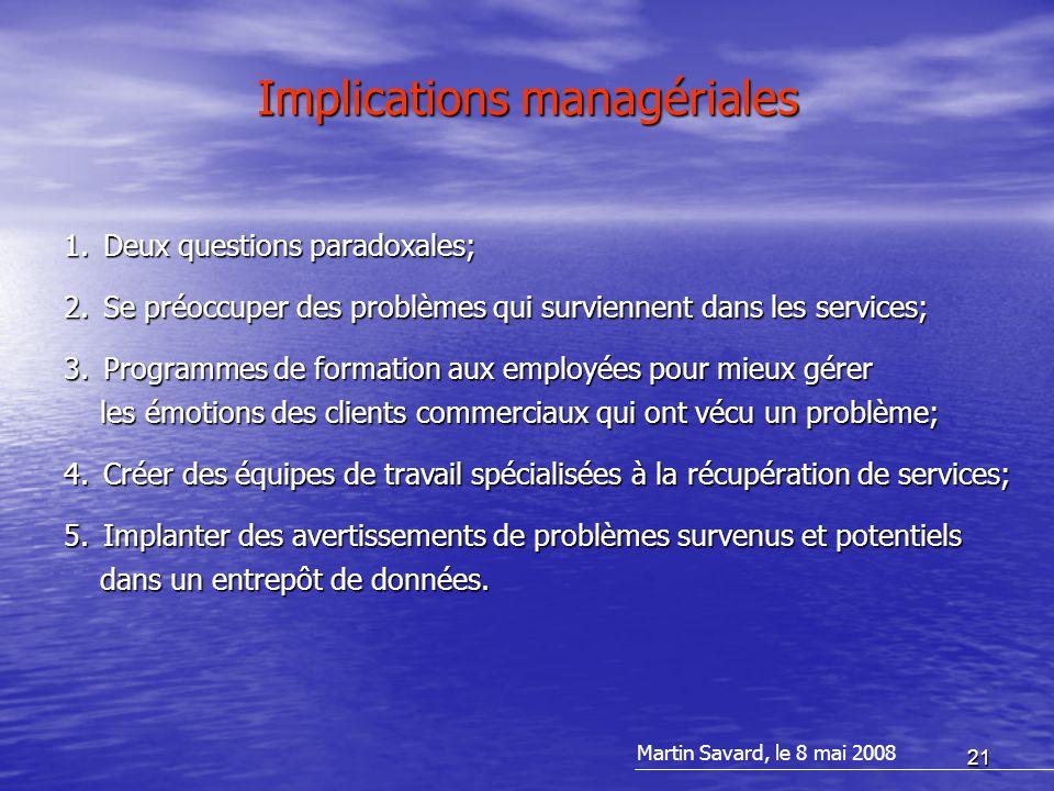 21 Implications managériales 1.Deux questions paradoxales; 2.Se préoccuper des problèmes qui surviennent dans les services; 3.Programmes de formation