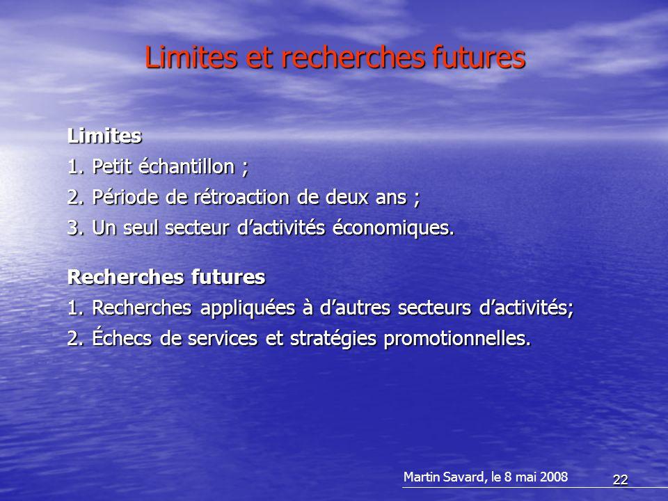 22 Limites et recherches futures Limites 1.Petit échantillon ; 2.Période de rétroaction de deux ans ; 3.Un seul secteur d'activités économiques. Reche