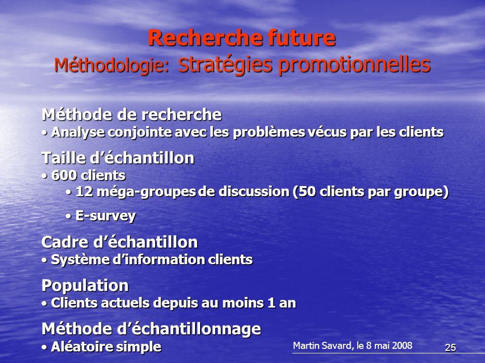 25 Recherche future Méthodologie: S tratégies promotionnelles Méthode de recherche Analyse conjointe avec les problèmes vécus par les clients Analyse