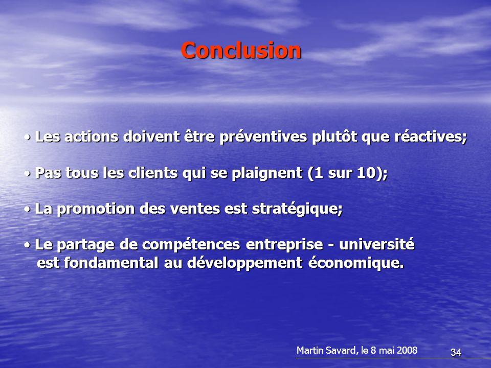 34 Les actions doivent être préventives plutôt que réactives; Les actions doivent être préventives plutôt que réactives; Pas tous les clients qui se p
