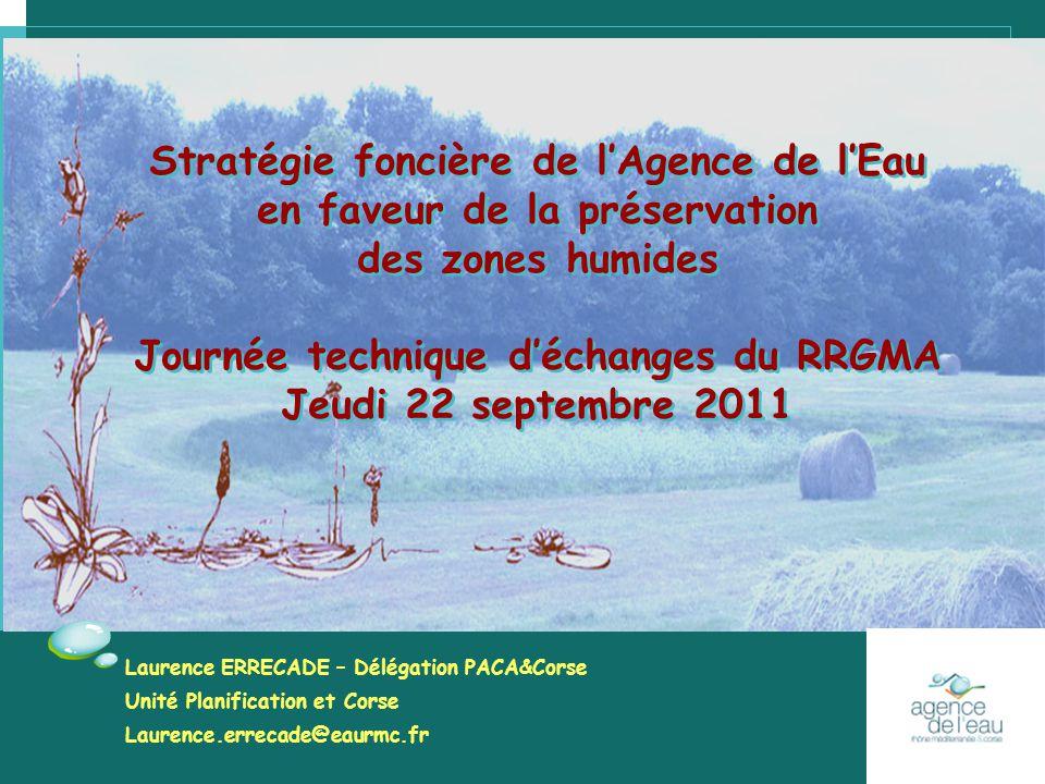Stratégie foncière de l'Agence de l'Eau en faveur de la préservation des zones humides Journée technique d'échanges du RRGMA Jeudi 22 septembre 2011 S