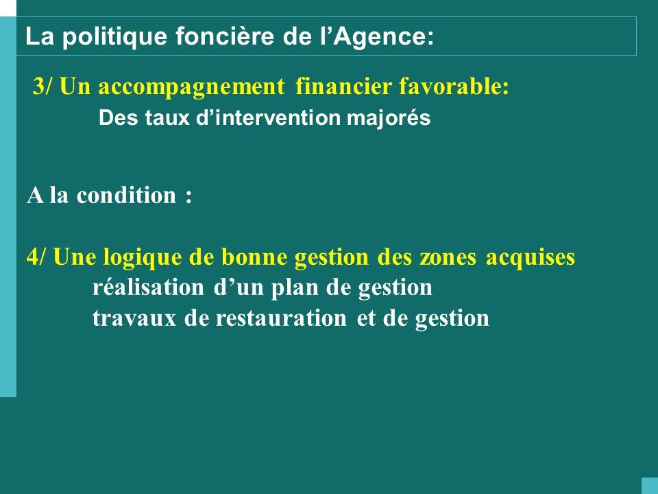 La politique foncière de l'Agence: 3/ Un accompagnement financier favorable: Des taux d'intervention majorés A la condition : 4/ Une logique de bonne