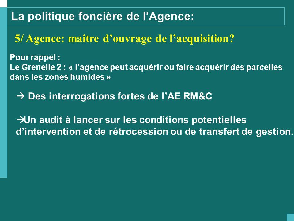 La politique foncière de l'Agence: 5/ Agence: maitre d'ouvrage de l'acquisition.
