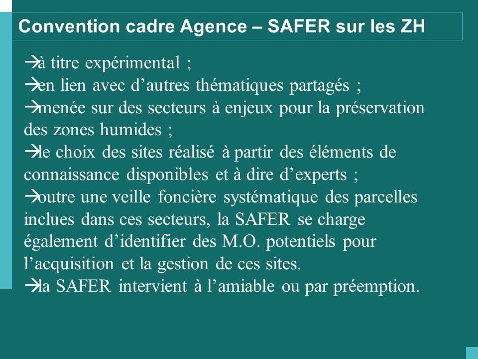 Convention cadre Agence – SAFER sur les ZH  à titre expérimental ;  en lien avec d'autres thématiques partagés ;  menée sur des secteurs à enjeux p
