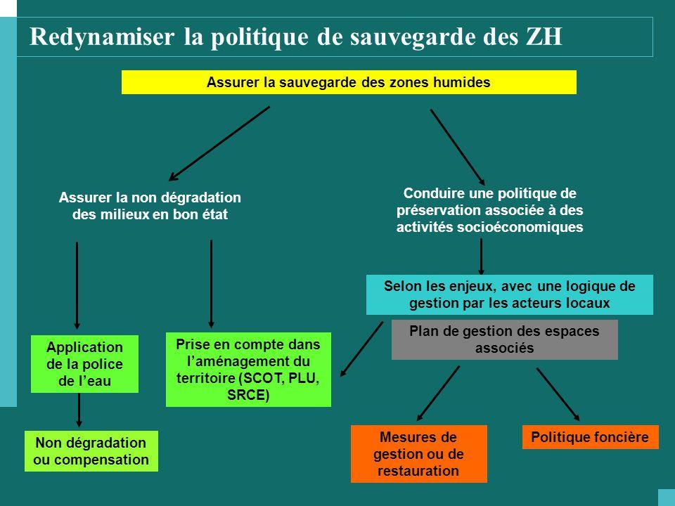 Redynamiser la politique de sauvegarde des ZH Assurer la sauvegarde des zones humides Assurer la non dégradation des milieux en bon état Application d