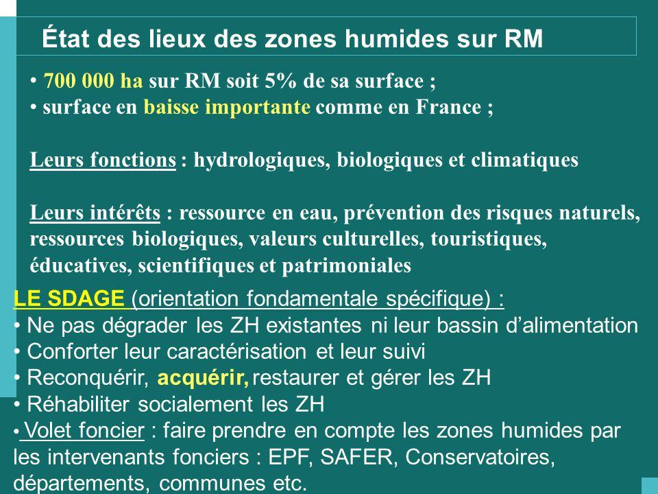 700 000 ha sur RM soit 5% de sa surface ; surface en baisse importante comme en France ; Leurs fonctions : hydrologiques, biologiques et climatiques L