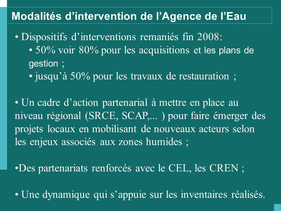 Dispositifs d'interventions remaniés fin 2008: 50% voir 80% pour les acquisitions et les plans de gestion ; jusqu'à 50% pour les travaux de restauration ; Un cadre d'action partenarial à mettre en place au niveau régional (SRCE, SCAP,...