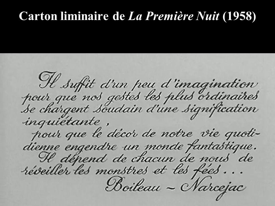Carton liminaire de La Première Nuit (1958)
