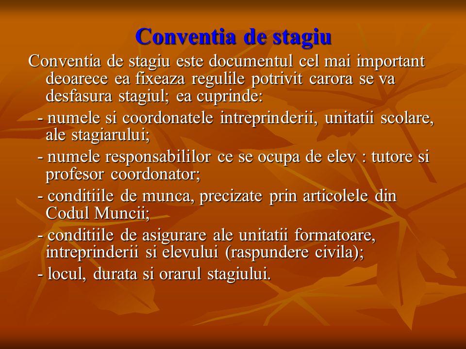 Conventia de stagiu Conventia de stagiu este documentul cel mai important deoarece ea fixeaza regulile potrivit carora se va desfasura stagiul; ea cup