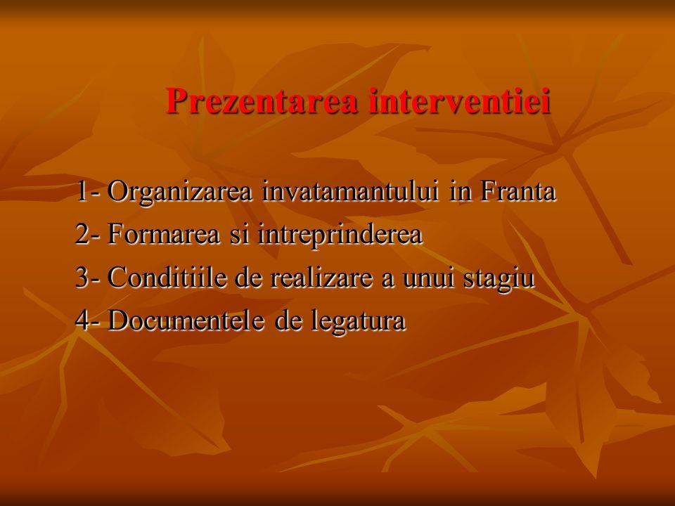 Prezentarea interventiei Prezentarea interventiei 1- Organizarea invatamantului in Franta 1- Organizarea invatamantului in Franta 2- Formarea si intre