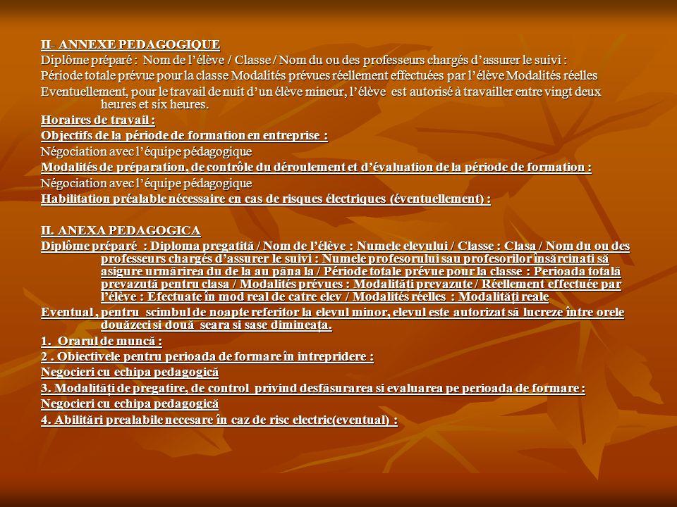 II- ANNEXE PEDAGOGIQUE Diplôme préparé : Nom de l'élève / Classe / Nom du ou des professeurs chargés d'assurer le suivi : Période totale prévue pour l
