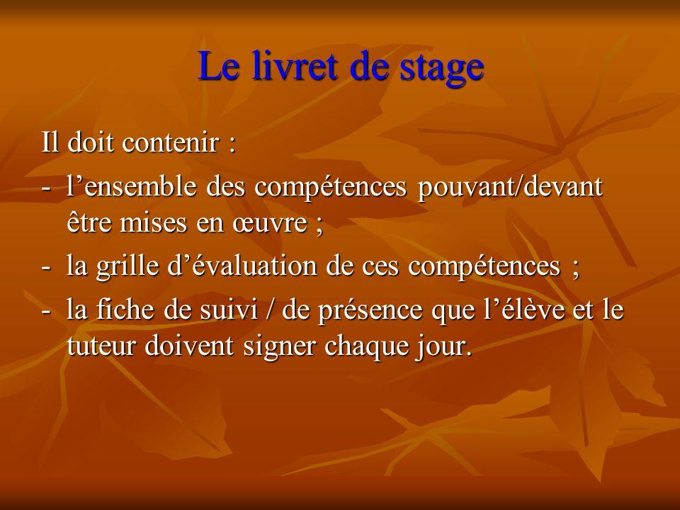 Le livret de stage Il doit contenir : - l'ensemble des compétences pouvant/devant être mises en œuvre ; - la grille d'évaluation de ces compétences ;
